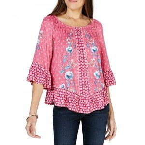 Style & Co Women's Plus Floral Print Top Blouse